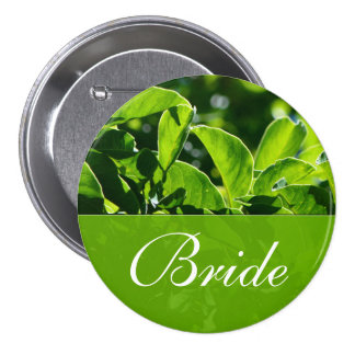 Spring, summer green leaves bride wedding pinback button