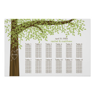Spring Summer Heart Tree Wedding Seating Chart Poster