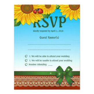 Spring Summer Lady Bugs Sunflowers RSVP Card