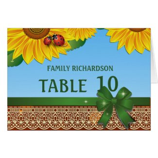 Spring Summer Lady Bugs Sunflowres Table Numbers Cards