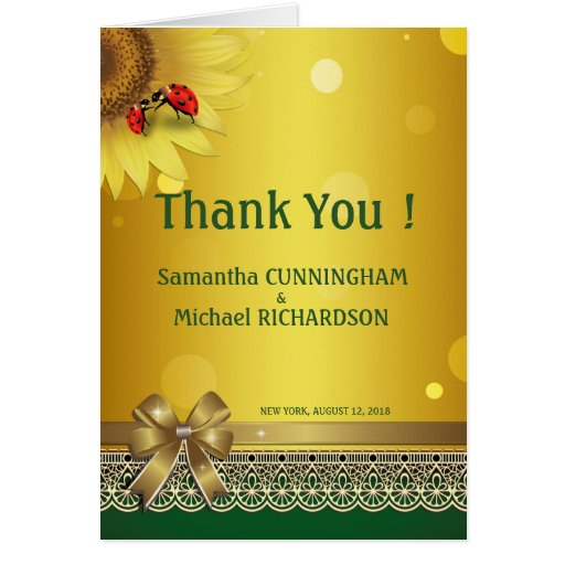 Spring Summer Lady Bugs Thank You Card