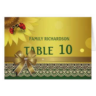 Spring Summer Lady Bugs Wedding Table Numbers Greeting Card