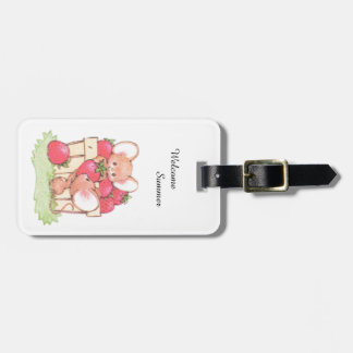 Spring Summer Strawberry Workshop Mice Luggage Tag