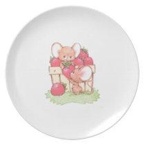 Spring Summer Strawberry Workshop Mice Plate