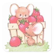 Spring Summer Strawberry Workshop Mice Square Sticker