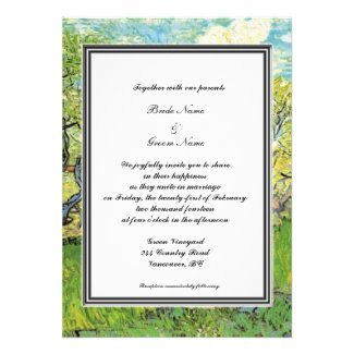 spring, summer wedding invitation. van Gogh