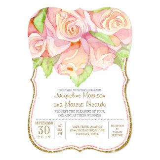 Spring Summer Wedding Watercolor Rose Bouquet Card