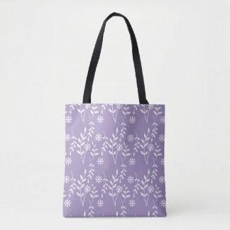 Spring Summer White Floral on Lavendar Pattern Tote Bag