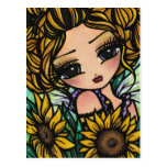 Spring Sunflower Bumblebee Fairy Fantasy Art Girl Post Card