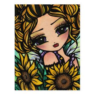 Spring Sunflower Bumblebee Fairy Fantasy Art Girl Postcard