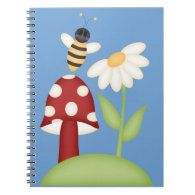 Spring Sunflower w/Bumble Bee & Mushrom Spiral Notebooks