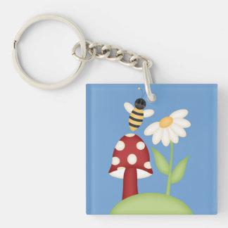 Spring Sunflower w/Bumble Bee & Mushrom Single-Sided Square Acrylic Keychain