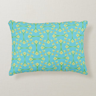 Spring Sunshine Daffodils Sky Blue Accent Pillow