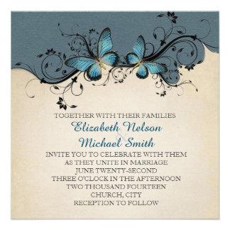 Spring Swirls Blue Butterfly Wedding Invite