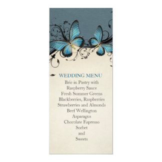 Spring Swirls Blue Butterfly Wedding Menu Custom Invites