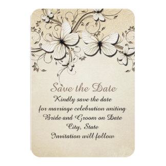 Spring Swirls Butterfly Save the date Card