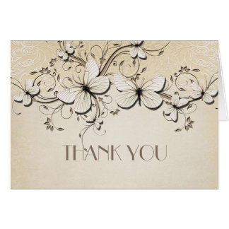 Spring Swirls Butterfly Thank you card