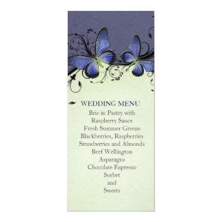 Spring Swirls Green&Blue Butterfly Wedding Menu Personalized Invites
