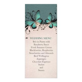 Spring Swirls Green&Pink Butterfly Wedding Menu Custom Announcement Cards