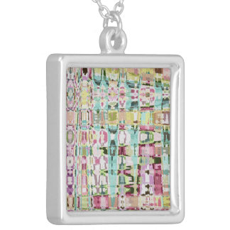 Spring Tapestry Abstract Silver Plated Necklace