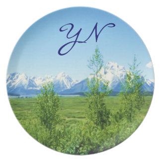 Spring Tetons monogram Melamine Plate