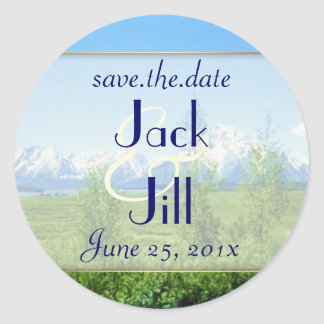 Spring Tetons WEDDING Save The Date Classic Round Sticker