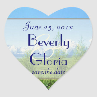 Spring Tetons WEDDING Save The Date Heart Sticker