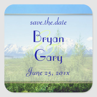 Spring Tetons WEDDING Save The Date Square Sticker