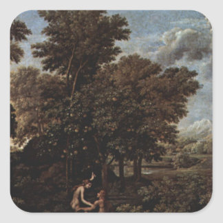 Spring (The Earthly Paradise) by Nicolas Poussin Square Sticker
