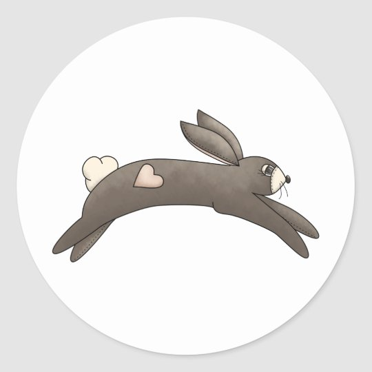 Spring Things · Grey Bunny with Heart Classic Round Sticker