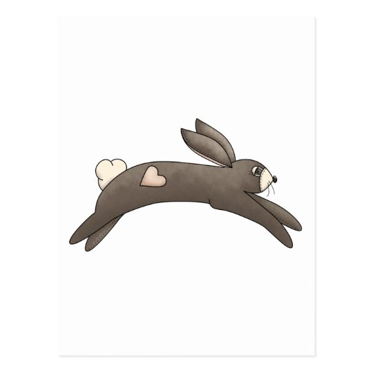 Spring Things · Grey Bunny with Heart Postcard