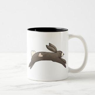 Spring Things · Grey Bunny with Heart Two-Tone Coffee Mug