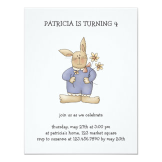 Spring Time · Easter Bunny with Flowers Personalized Invite