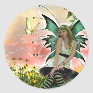 Spring Time Faery (Stickers) Classic Round Sticker