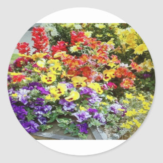 Spring Time Flowers Classic Round Sticker