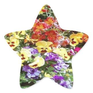 Spring Time Flowers Star Sticker