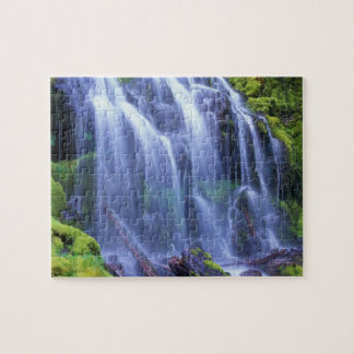 Spring-time fresh water flowing over moss jigsaw puzzle