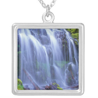 Spring-time fresh water flowing over moss silver plated necklace