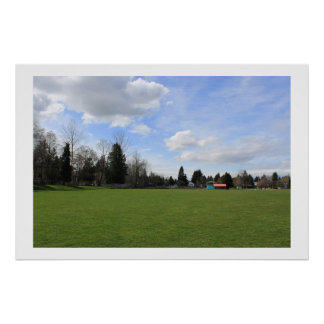 spring time, green grass, blue sky and trees poster