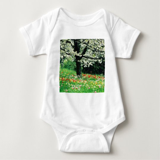 Spring Tree And Wildflowers Baby Bodysuit
