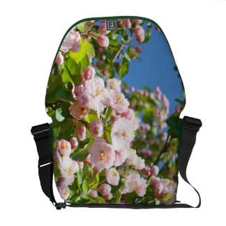 Spring Tree Blossoms Pink Green Messenger Bags