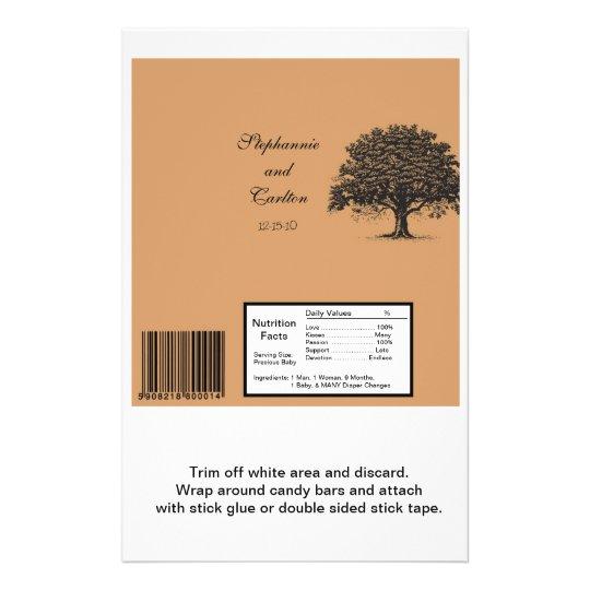 Spring Tree Brown/Black Wedding Large Bar Wrapper