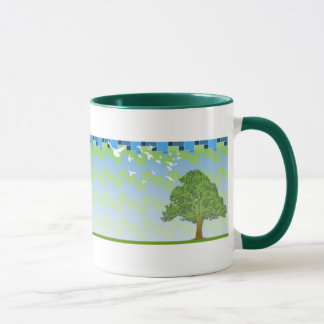 spring tree green squares background mug