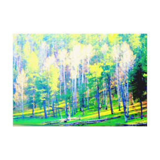 spring trees leafing out wrapped canvas