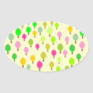 Spring Trees Oval Sticker