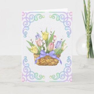 Spring Tulip Basket card
