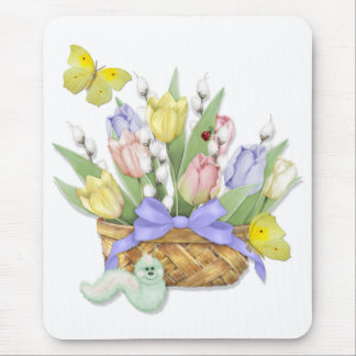 Spring Tulip Basket Mouse Pad