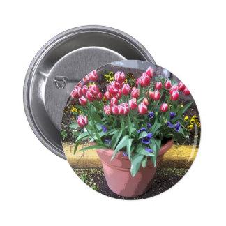 Spring Tulip Clay Pot Pinback Button