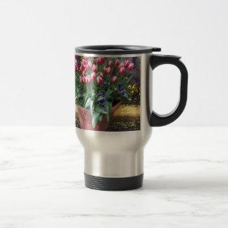 Spring Tulip Clay Pot Travel Mug