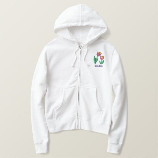 Spring Tulip Custom Personalized Name Embroidered Hoodie